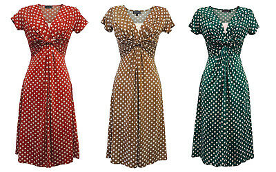 New Ladies Wartime Vintage style WW2 Land girl 1940s Polka Dot Tea Dress