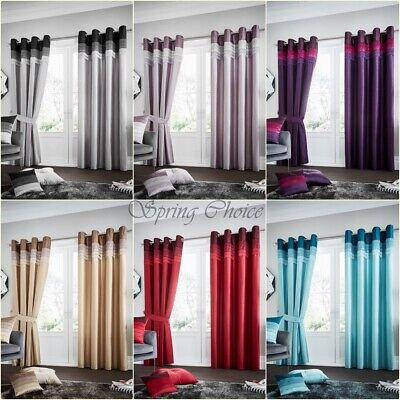 PAIR OF LUXURIOUS CURTAINS Ready Made Eyelet / Ring Top with FREE Tie Backs
