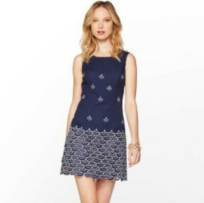a027a4b7620855 Lilly Pulitzer Dress Size 0 Womens Navy Clarita Sailing Embroidered  Scalloped
