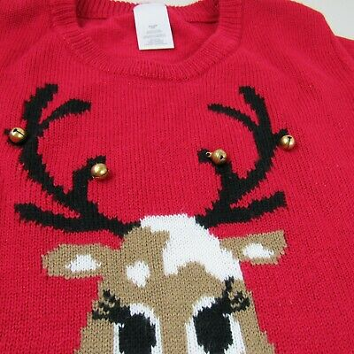 Christmas Pull Over Sweater Red Nose Reindeer jingle bells