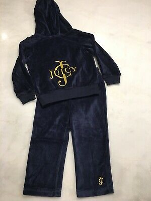 Juicy Couture Baby Girls 2 Piece Hooded Velour Tracksuit Navy 12-18 months (11D)