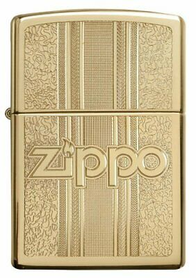 Zippo Logo Pattern Design, High Polish Brass, Windproof Lighter #29677