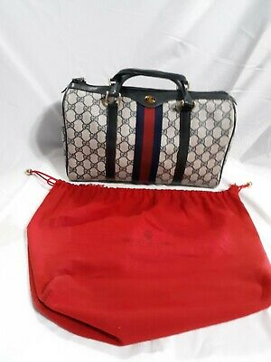 0391bd3d6cda Vintage Gucci Blue Gg Monogram Doctor Bag Purse Blue & Red Stripe Made In  Italy