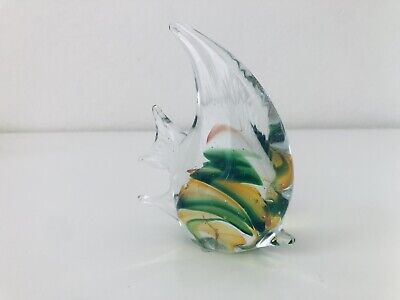 Vintage Murano Glass Tropical Fish Art Handmade Paperweight Figure Sculpture