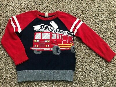 NWT Stylish Toddler Boy's baby GAP Sweater Firetruck Multi-Color Warm Size 5