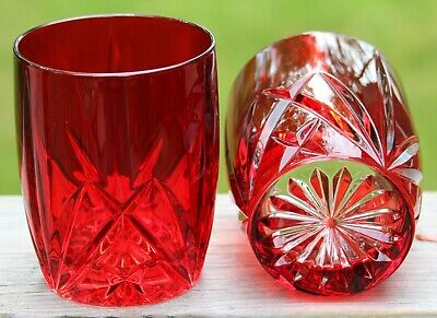 Marquis by WATERFORD Set/4 Ruby RED Brookside Pattern Dbl Old Fashioned Glasses
