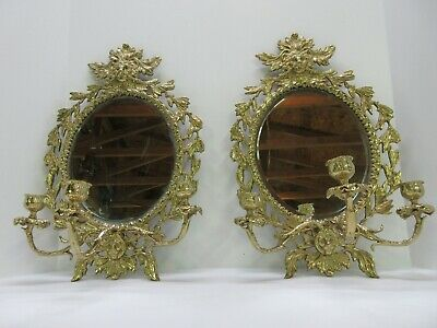 Pair of French Brass Wall Mirrors. 19th Century Lion Mask & Triple Candelabra