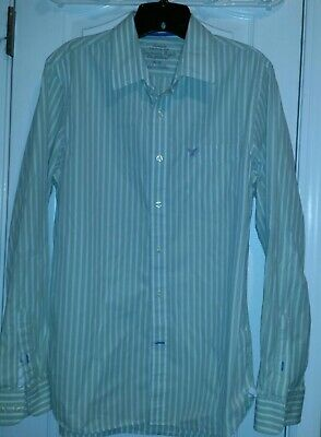 522dabf2ad Mens American Eagle Outfitters Green Striped Button Front Shirt Size Medium