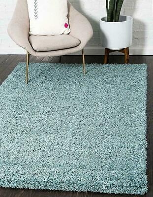 Duck Egg Blue Modern Shaggy Rug Fluffy Plain Area Rugs Super Soft Non Shed Pile