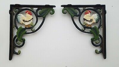 VIntage Cast Iron Rooster Brackets Painted Wall Shelf Holder Leaves Rustic Farm