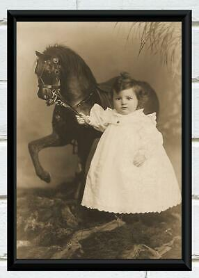 Antique Photo Little Girl Standing by Rocking Horse Victorian Photo Print 5x7