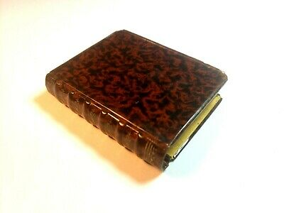 ~ Antique Tin Snuff Match Box Book Shaped Grain Decorated