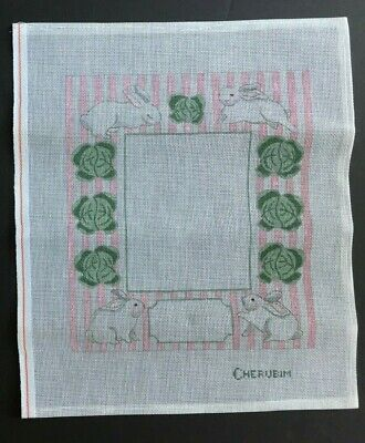 Cherubim Hand-painted Needlepoint Canvas Pink & White Frame/Rabbits & Cabbage
