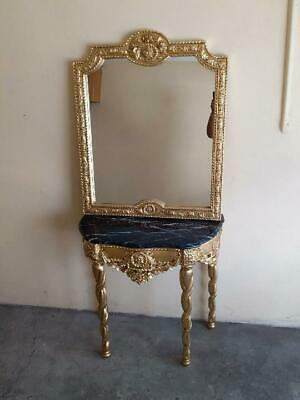Rococo Carved French Louis Gold Mirror And Console Table With Black Marble Top