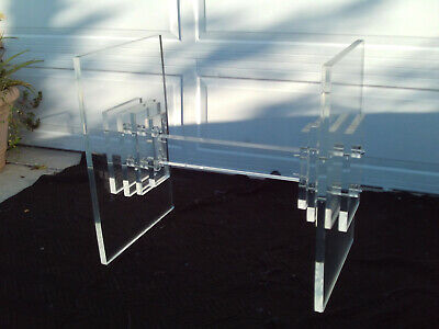 Vintage Mid Century Modern Chunky Stacked Lucite Table Base