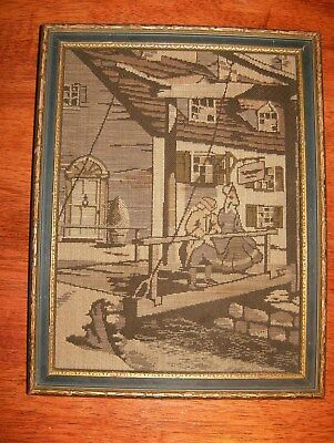La France Art Company Needlepoint Textile Man and Woman on Bridge Early 1900s