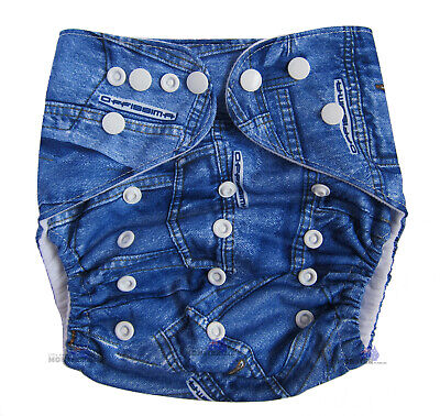 Junior XL Modern Cloth Nappy FREE Insert Baby Toddler up to 20kg - Classic Denim