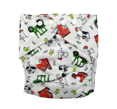 Junior Modern Cloth Nappy FREE Insert Toddler up to 20kg - Farm Tractors & Cows