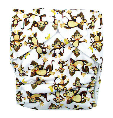 Junior Cloth Nappy FREE Insert Toddler up to 20kg - Cheeky Monkeys & Bananas