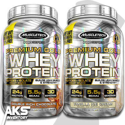 PREMIUM GOLD 100% WHEY PROTEIN POWDER MUSCLETECH Peptides & Isolate - 2.2 lbs