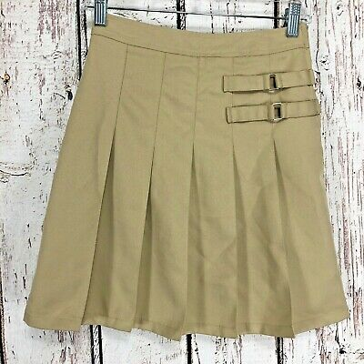 014a321570 French Toast School Uniform Girls Sz 3 Two Tab Pleated Khaki Scooter Skirt  (EE5)
