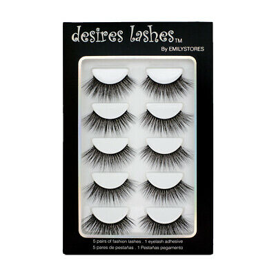 b25d533f6ab EMILYSTORES Natural Eyelashes 3D Faux-Mink Lashes Multipack 5Pairs,Glamorous