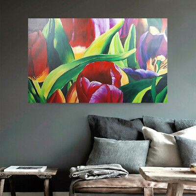 Framed Art Canvas Hand Painted Oil Painting Modern Wall Home Decor Tulip Flowers