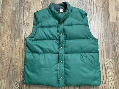 Vintage Men's Eddie Bauer KELLY GREEN Goose Down Nylon Vest *Measures XL*