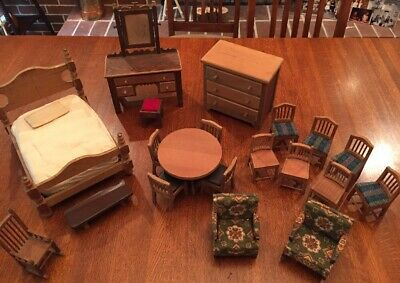 Vintage Handmade Wood Doll House Furniture Bedroom Dinning Sitting Rocking Chair