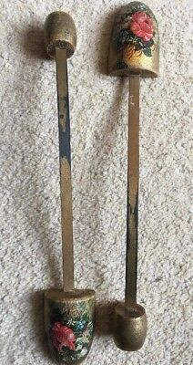 Pair of antique gilded, floral shoe trees