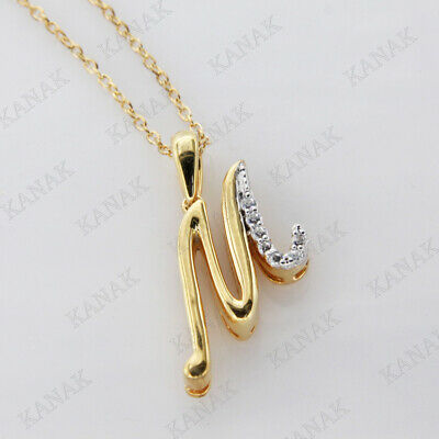 0.10 CTW Diamond Fancy Script 20x15 Any Initial Pendant Neck Yellow Gold Plated.