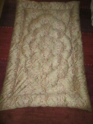 Vintage single feather filled eiderdown quilt paisley pattern