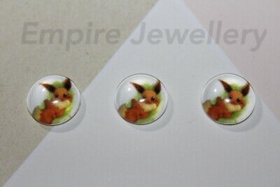 2 x Pokemon Eevee 12x12mm Glass Cabochons Cameo Dome Go Pikachu Nintendo