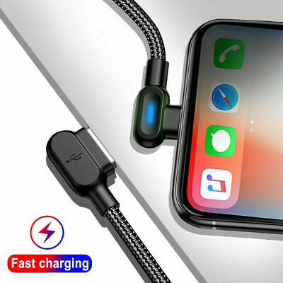 New Braided 90 Degree Right Angle Type C/IOS/ Micro USB Data Sync Charger Cable
