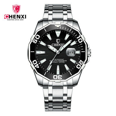 CHENXI Men Watch Large Dial Silver Steel Male Calendar Wristwatch Brand Watches