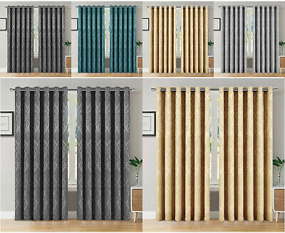 Thermal Blackout Curtains Eyelet Ring Top / Pencil Pleat Ready Made Curtain Pair