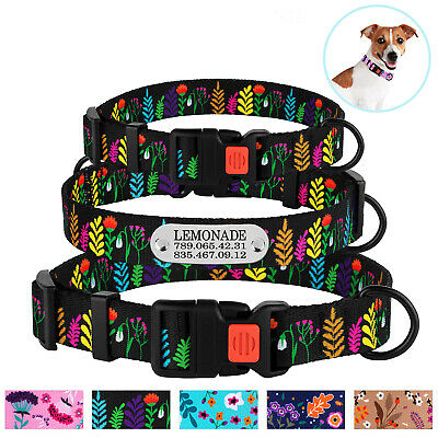 Adjustable Dog Collar Personalized Pet Collars for Dogs Puppy Floral Pattern S L