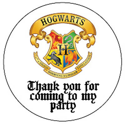Harry Potter Hogwarts Thank You Personalised Party Stickers Cone Labels Birthday
