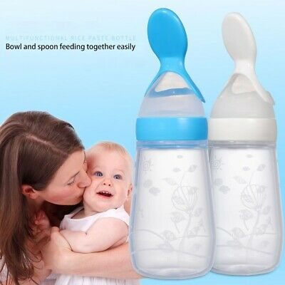Baby Silicone Squeeze Feeding Bottle With Spoon Food Rice Cereal Feeder 125ML