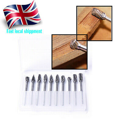 10x Tungsten Head Carbide Burrs For Rotary Drill Die Grinder Carving Bit MVJ