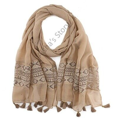 Ladies Women Shawl Scarf Hijab Wrap Large Summer Spring Cotton Embroidered Lace