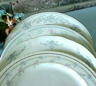 Vintage Mismatched China Dinner Plates Lot of 4 Blues Silver Gold Bands Floral
