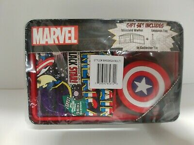 Avengers Captain America Slim-Fold Wallet Collector Tin & Luggage Tag Marvel 065