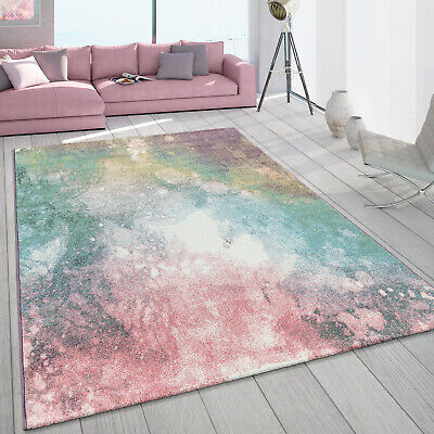 Short-Pile Living Room Rug Colourful Modern Galaxy Design Pastel Colours Multi-C