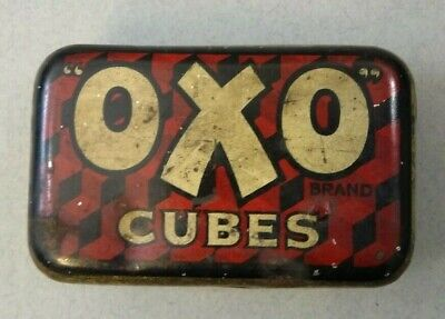 Vintage OXO Tin Era 1940's With Original Printing Inside Lid Collectable Display
