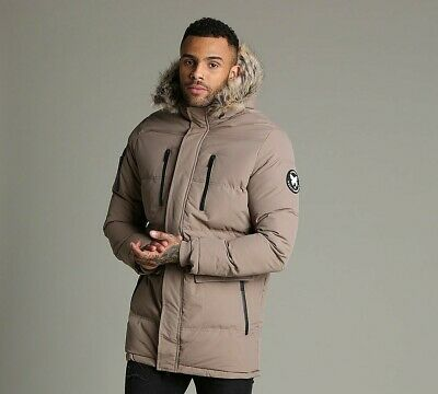 c6f5df7107367 Mens Good For Nothing Alaska Quilt Taupe Parka Jacket (SA33) RRP £99.99