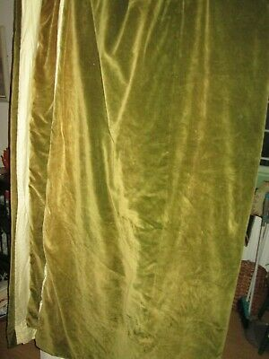 1 pair of large dark moss green vintage cotton velvet padded lined curtains