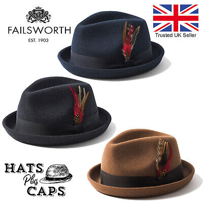 Failsworth Brooklyn Vintage Style Trilby Blue Retro Stingy Brim Hat 100% Wool