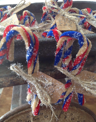 Primitive Patriotic 4th of July Candy Canes Glittered n Tagged set of 3..9 Total