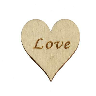 Heart with Love Text - 4cm - Wooden Embellishment - (Pack of 10)